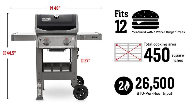 Spirit II e-210 grill specification